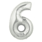 7 Inch Silver Number 6 Balloon