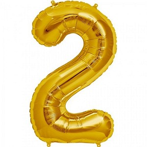 "34"" Gold Number  ""2""  Two Foil Balloon"