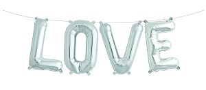 "16in ""LOVE"" Silver Mylar Balloon Kit"