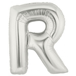 7 Inch Silver Letter R Balloons