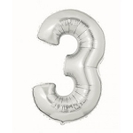 7 Inch Silver Number 3 Balloon