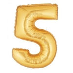 14 Inch Gold Number 5 Balloon