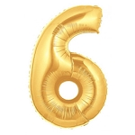 14 Inch Gold Number 6 Balloon