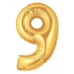 14 Inch Gold Number 9 Balloon