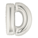 14 Inch Silver Letter D Balloons