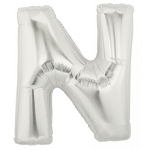 14 Inch Silver Letter N Balloons