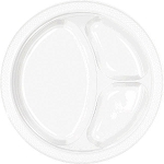 White 10.25in Divided Plastic Plates