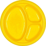 Yellow Sunshine 10.25in Divided Plastic Plates