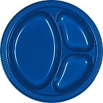 Bright Royal Blue 10.25in Divided Plastic Plates