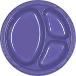 New Purple 10.25in Divided Plastic Plates