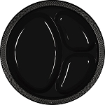 Jet Black 10.25in Divided Plastic Plates