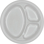Silver 10.25in Divided Plastic Plates