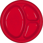 Apple Red 10.25in Divided Plastic Plates