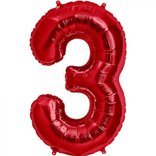 """34"""" Red Number """"3"""" Three Foil Balloon"""