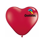 11in Heart-Shaped Ruby Red Latex Balloon - 100 ct