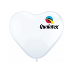 11in Heart-Shaped White Latex Balloon - 100 ct