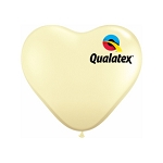 11in Heart-Shaped Ivory Silk Latex Balloon - 100 ct