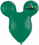15in Mouse Head Emerald Green Latex Balloon - 50 ct