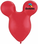 15in Mouse Head Ruby Red Latex Balloon - 50 ct