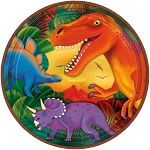 Prehistoric Party 9in Metallic Plates