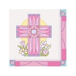 Sacred Cross Pink Beverage Napkins