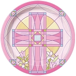 Sacred Cross Pink 9in Plates