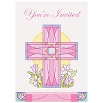 Sacred Cross Pink Invitations