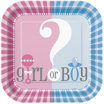 Gender Reveal 9in Square Plates