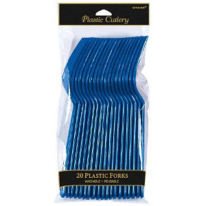 Bright Royal Blue Plastic Forks - 20ct