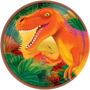 Prehistoric Party 7in Metallic Plates