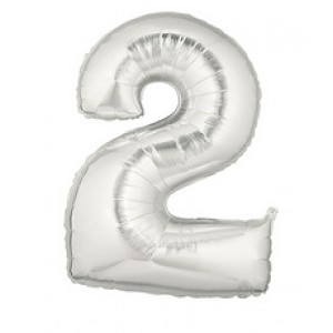 7 Inch Silver Number 2 Balloon