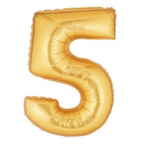 7 Inch Gold Number 5 Balloon