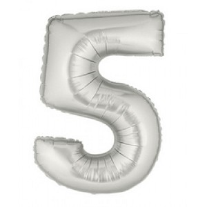 "7""  Silver Number 5 Balloon"