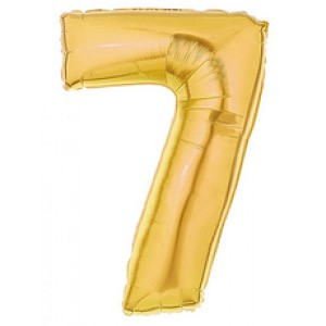 "7""  Gold Number 7 Balloon"