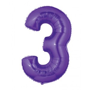 40 Inch Megaloon Purple  Number 3 Balloon