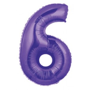 "40"" Megaloon Purple  Number 6 Balloon"