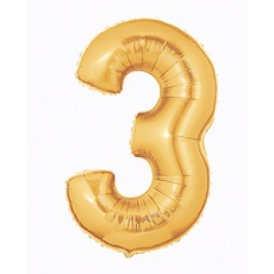 "14""  Gold Number 3 Balloon"