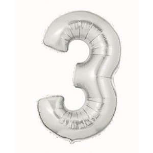 14 Inch Silver Number 3 Balloon