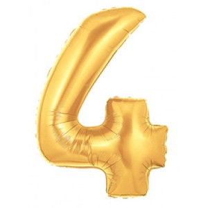 "14""  Gold Number 4 Balloon"