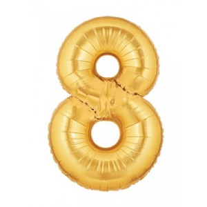 "14""  Gold Number 8 Balloon"