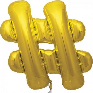 16' Gold Hashtag '#' Sign Foil Balloon