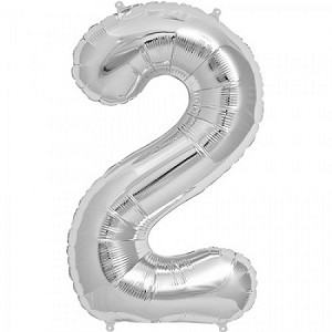 "34"" Silver Number  ""2""  Two Foil Balloon"
