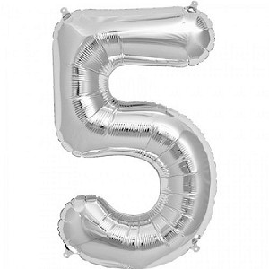 "34"" Silver Number  ""5""  Five Foil Balloon"