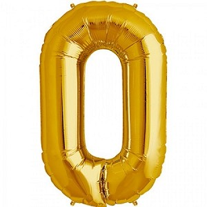 "34"" Gold Number  ""0""  Zero Foil Balloon"