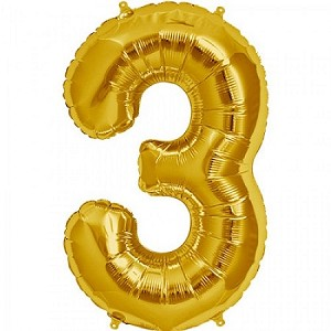 "34"" Gold Number  ""3""  Three Foil Balloon"