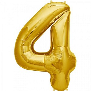 "34"" Gold Number  ""4""  Four Foil Balloon"