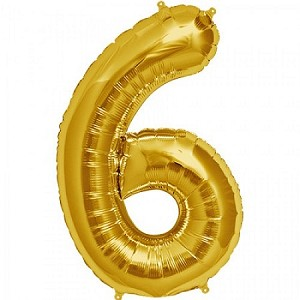 "34"" Gold Number  ""6""  Six Foil Balloon"