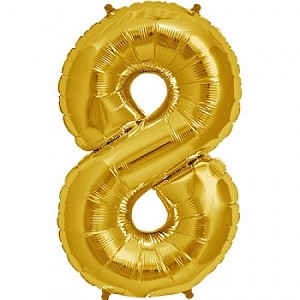"34"" Gold Number  ""8""  Eight Foil Balloon"