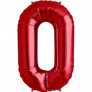 "34"" Red Number  ""0""  Zero Foil Balloon"