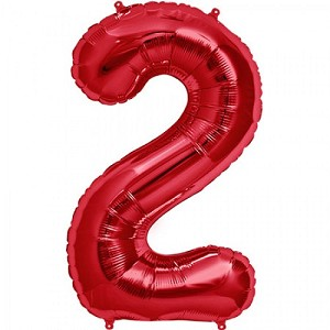 "34"" Red Number  ""2""  Two Foil Balloon"